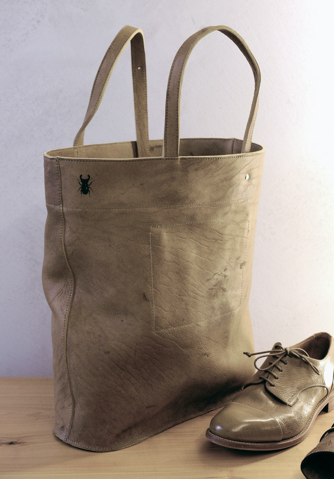 Cervo Volante's Shopper together with a matching pair of men's Val Verda shoes, both made from Valonea Oak tanned Cervo Volante leather