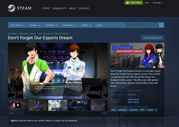Don't Forget Our eSports Dream - A StarCraft Visual Novel by