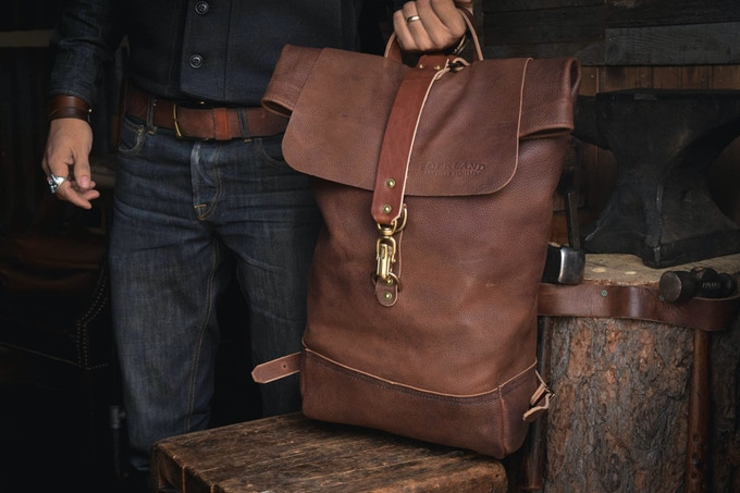 All Leather Rolltop in Dark Brown