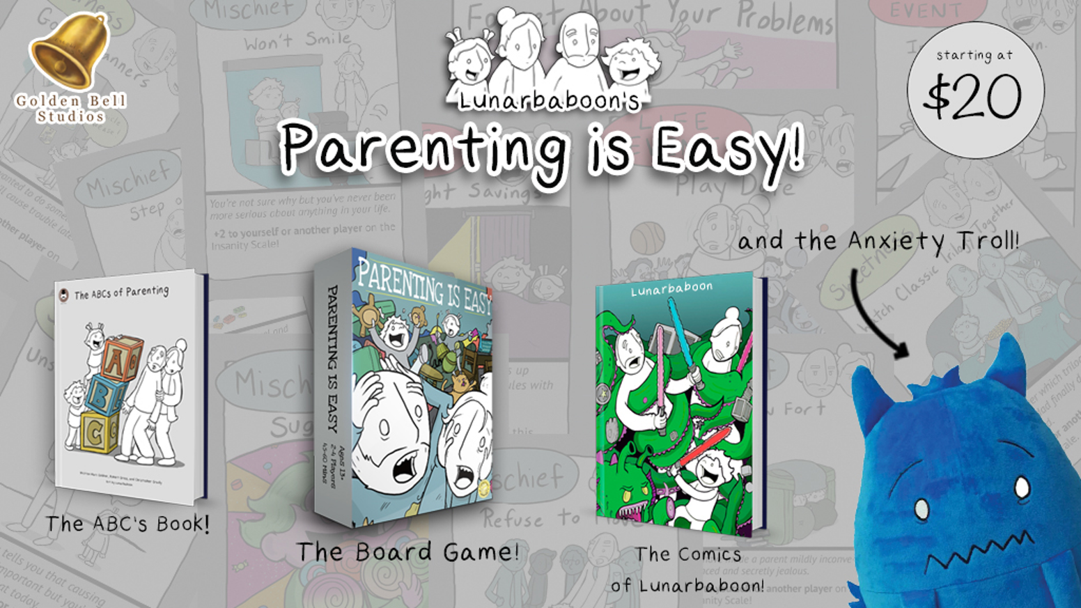 Lunarbaboon returns for a 3rd time on Kickstarter with a Board Game, Anxiety Troll Plush, Book & Comics to make parenting a lot easier!