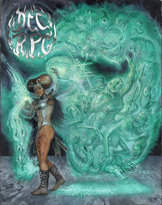 The Shanna Dahaka cover to the DCC Core Rulebook! By Doug Kovacs