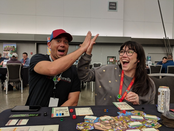 """""""After getting a demo of @CherryPikdGames's Far Away at #SHUX18 I decided to back it. Far Away offers a unique experience, but nothing unfamiliar or complicated. A 2 player mode, amazing art and a dose of retro quirkiness made this a must have."""" - Cardboard Therapy"""