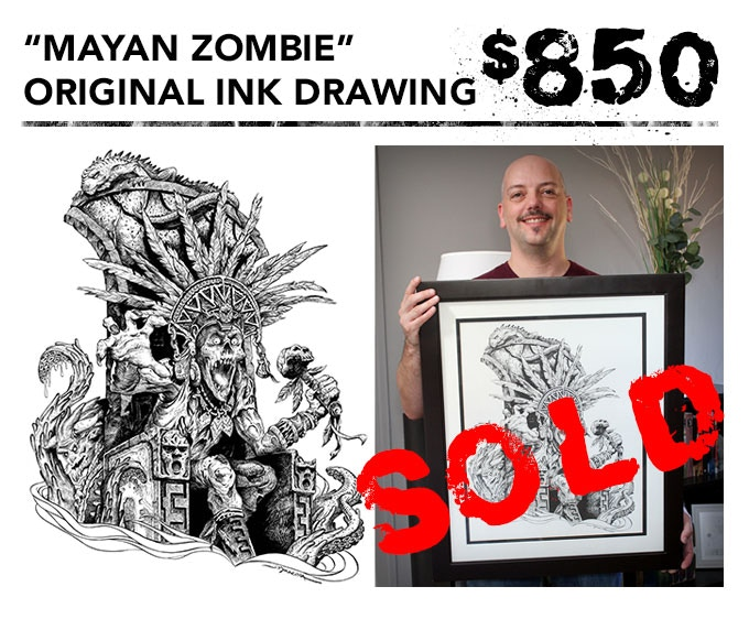 """You get the original 16""""x20"""" ink drawing of """"Mayan Zombie"""" (The cover art for Jeff's art book) + one signed art book + inking video in DVD and digital download formats + the free art print. Picture frame not included."""