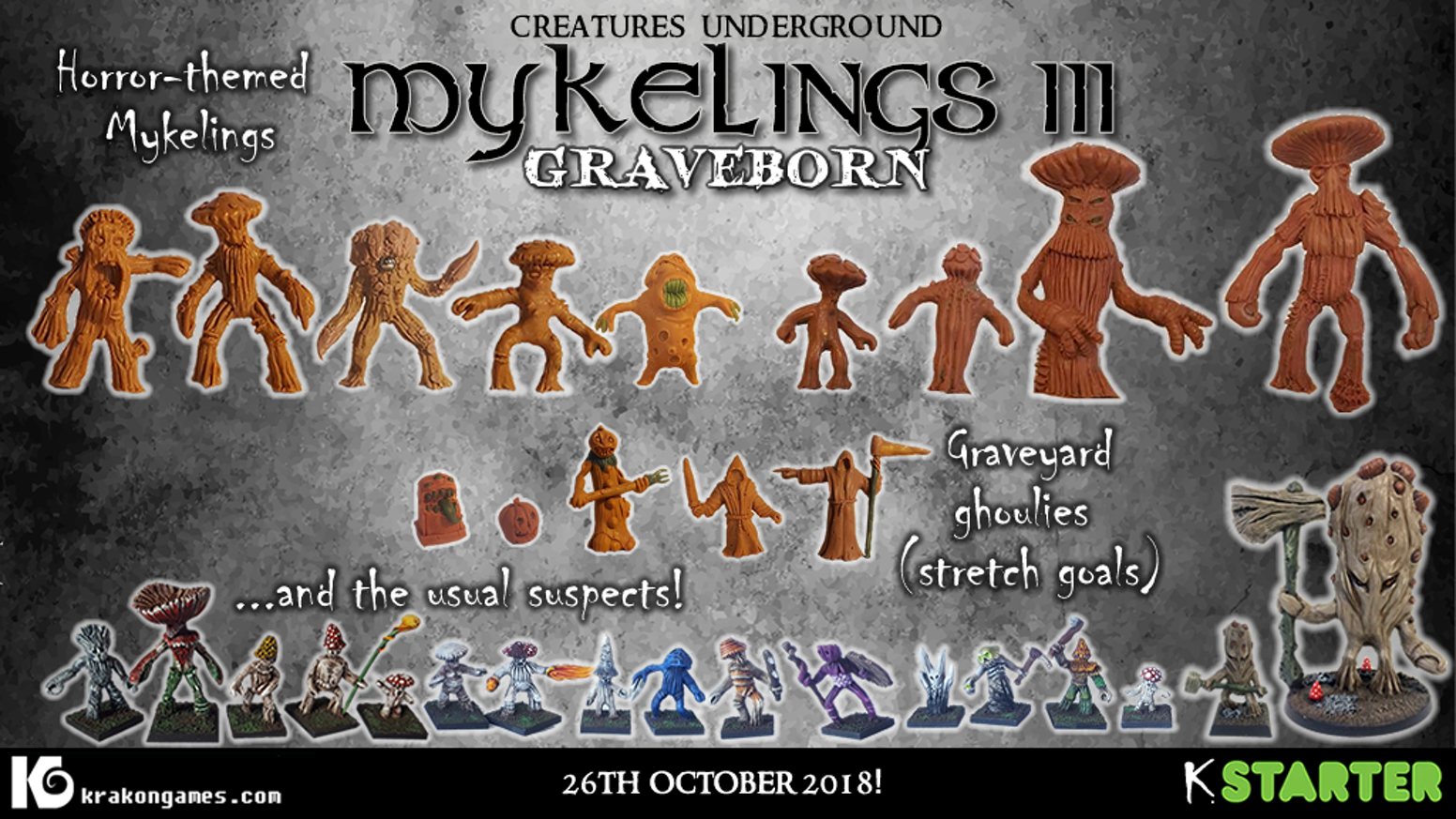 A horror / halloween theme miniature project, featuring mykelings and undead.