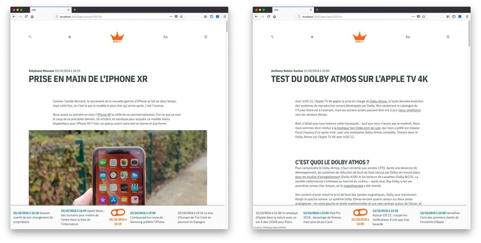 Un article et un test, là encore moins pour vous montrer les détails que pour vous montrer l'idée générale, celle d'une mise en page qui laisse toute la place au contenu.