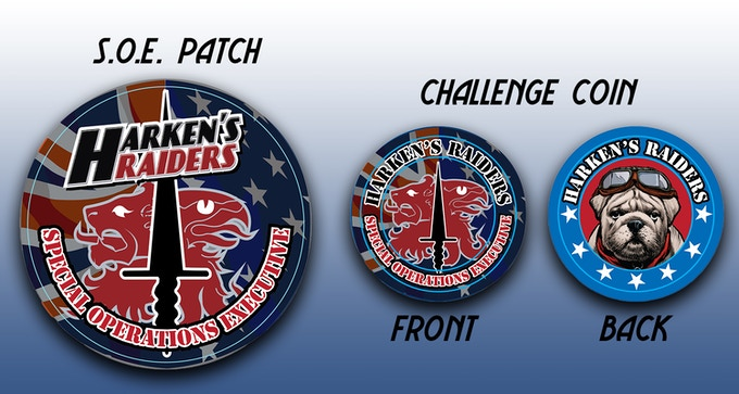 Harken's Raiders S.O.E. Patch and Challenge Coin
