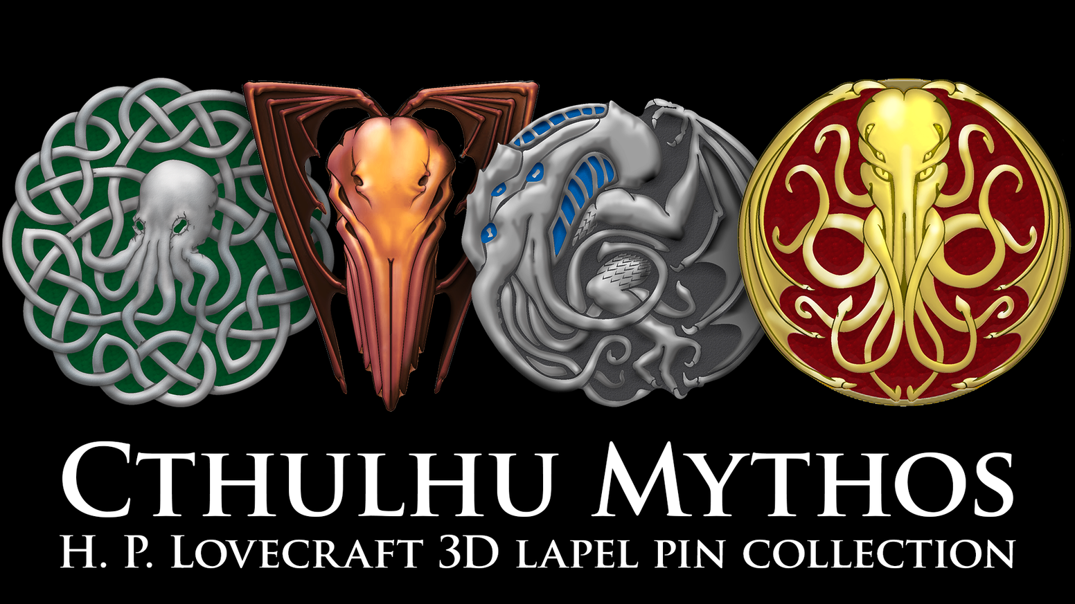 6 Original Cthulhu, Miskatonic, & Yellow Sign designs as deluxe lapel pins, to signal your cultist pride in the foremost Great Old One.