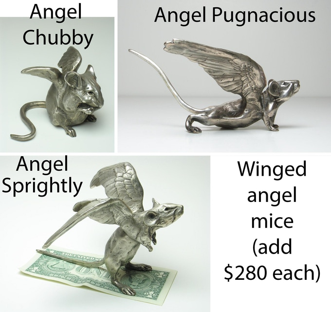 You can add other mice to your pledge, including these winged angel mice