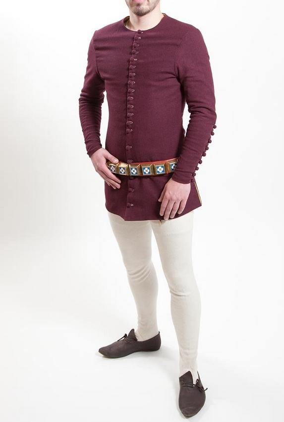 the cotehardie: fits under surcottes, houppelandes, mantles, capes, coats, etc etc.