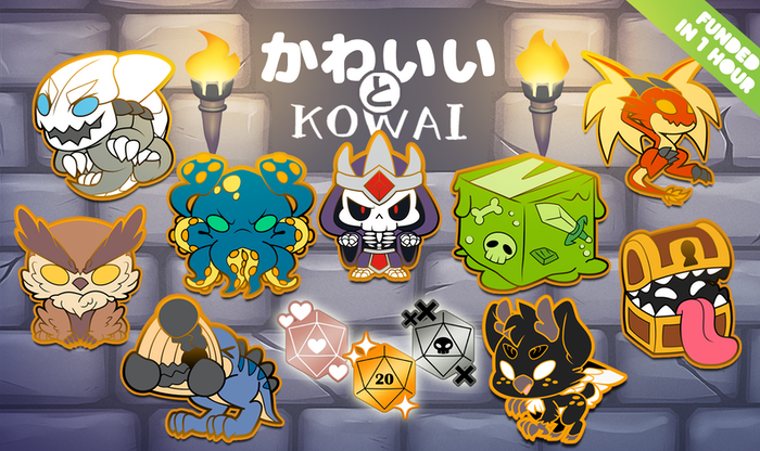 A collection of cute hard enamel pins, inspired by creatures from tabletop RPGs.