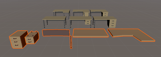 Modular desk components.