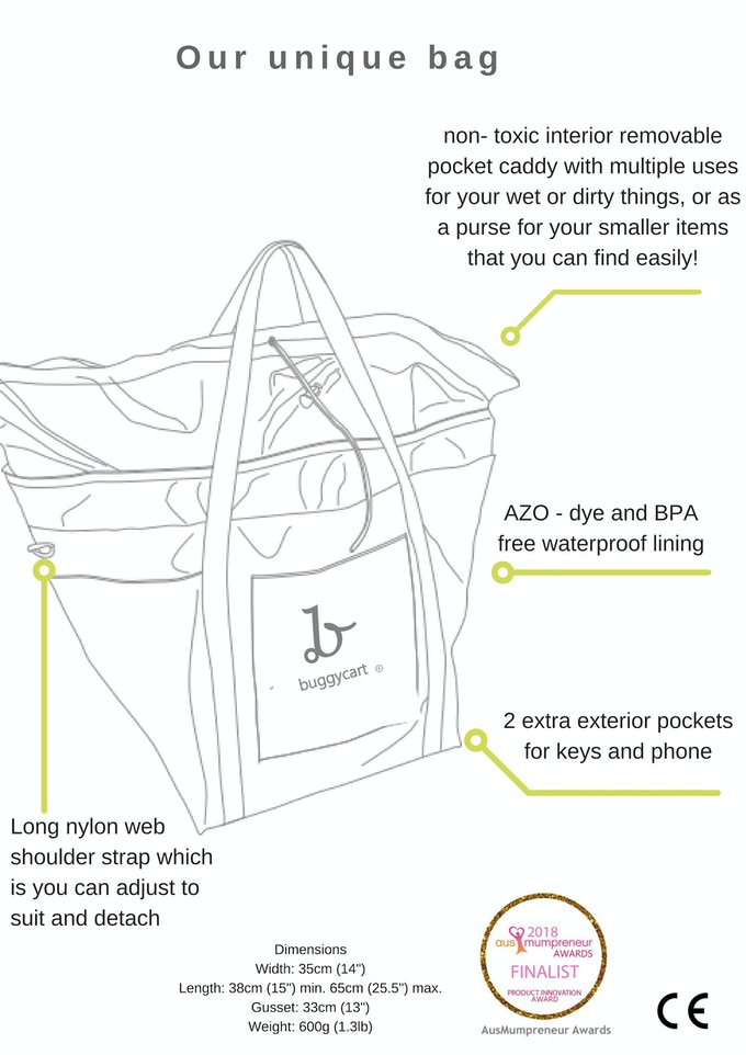 Our unique bag separate easily from the wheels making it a fantastic bag to take on outings like the beach when you're without your pram
