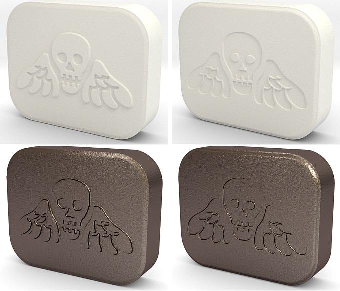 Embossing plate prototype renders - 3D printed in plastic & then stainless steel