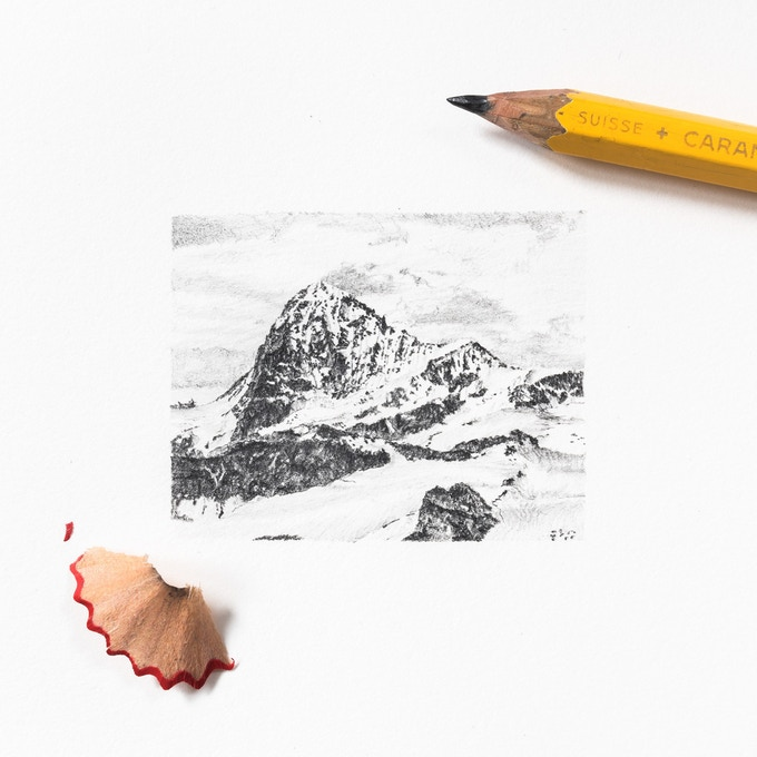 Dent Blanche drawing - image 5 x 4 cm!