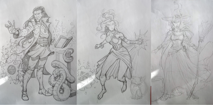Work in progress images of new card artwork