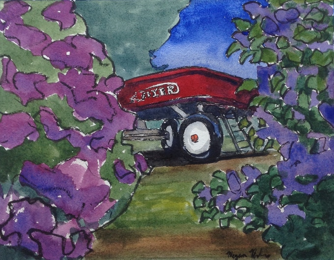Red Flyer with Lilacs
