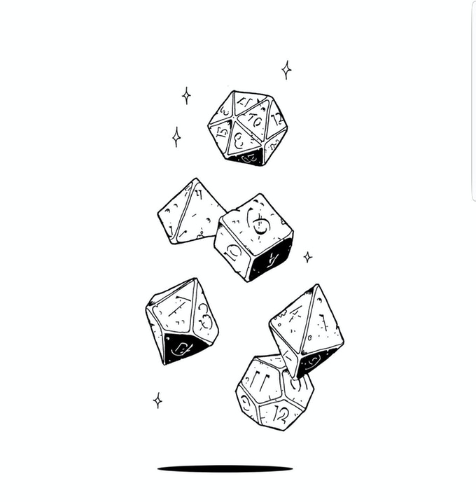 42 polyhedral ink drawing