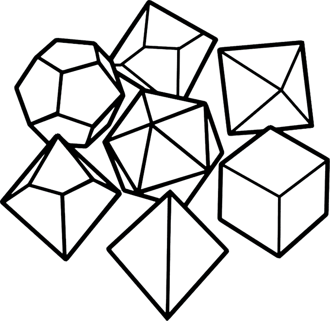 42 polyhedral line art