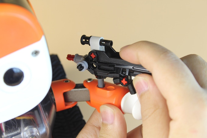 LEGO Technic compatitble holes on MoonBot's arm