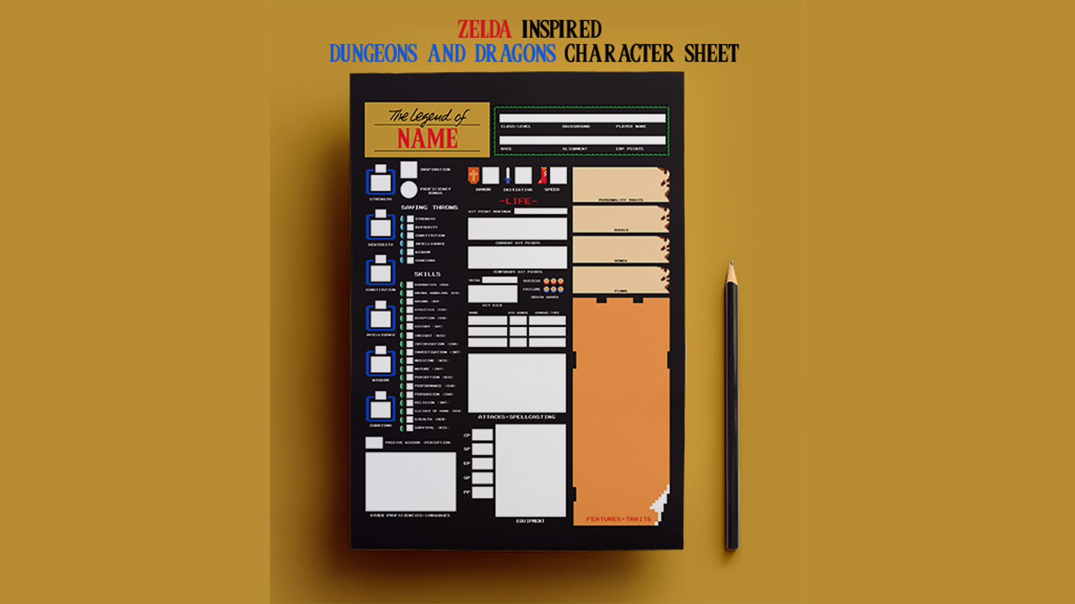 Zelda (NES) inspired Dungeons & Dragons Character Sheet by
