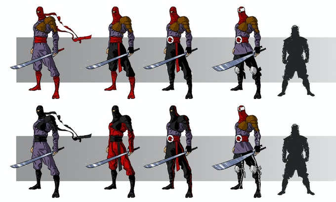 Concept art of giant swordsmen