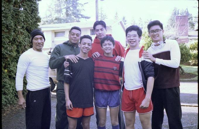 L-R: Roger Yuan (Sifu Cheung), Gui Da Silva-Greene (Jim), Malakai James (Young Jim), Yoshi Sudarso (Danny), Kieran Tamondong (Young Danny), Bryan Kinder (Young Hing), Peter Sudarso (Hing)