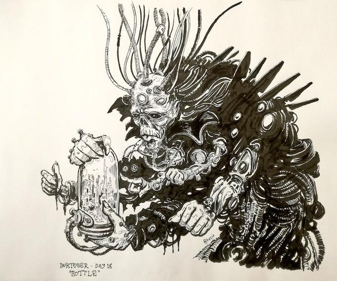 One of Gareth Sleighholme's stunning Inktober Illustrations