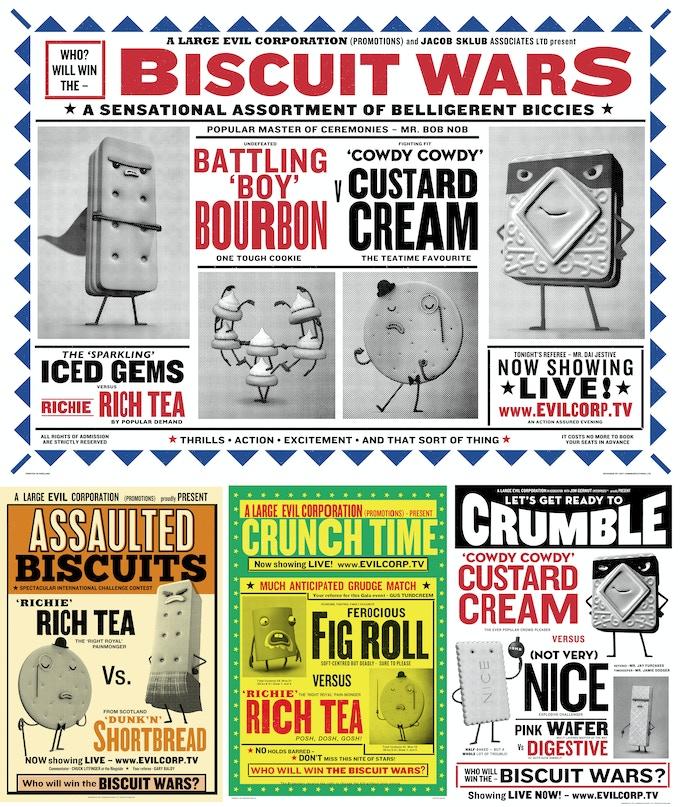 BISCUIT WARS screen-printed posters.