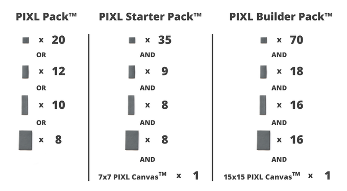 "Please note: PIXL Packs come in whatever specific size of block and color you choose, whereas PIXL Starter Packs and PIXL Builder Packs come in a variety of shades of whatever ""core"" color you choose (13 total options)."