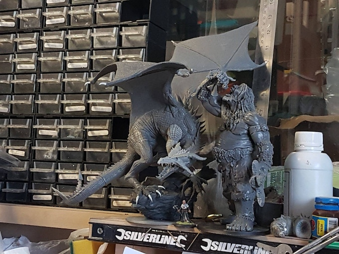 The Dragon vs the Heresy Giant, Mucklegeet, vs a 30mm human figure, Brother Lucius, to give you a sense of size.