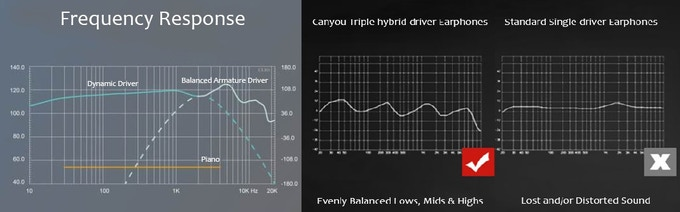 the graph below gives you an idea of how low the speaker can play compared  to standard single-driver one