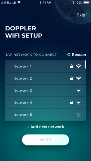 Wifi setup screen