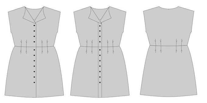 View 1 with separate button placket & View 2 with grown on button placket