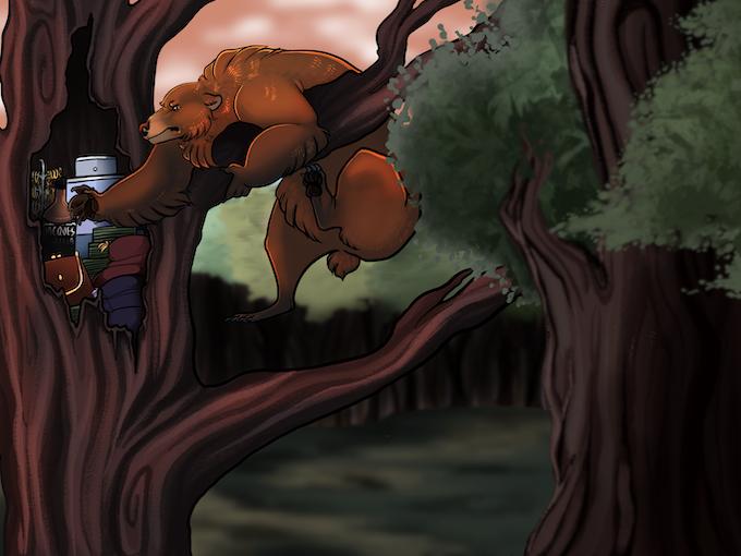 A bear retrieves the Good Stuff from their stash - illustration by Rhis Harris