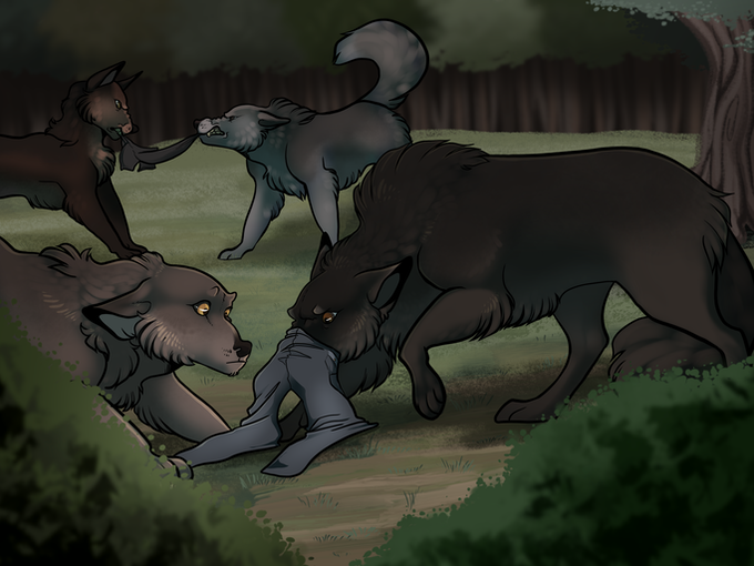 A wolf pack investigates evidence of humans - illustration by Rhis Harris