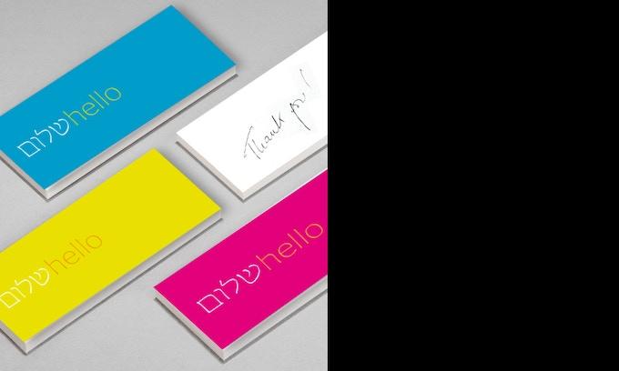 """Shalom - Hello"" mini cards - 70 x 28 mm - 4 colors"