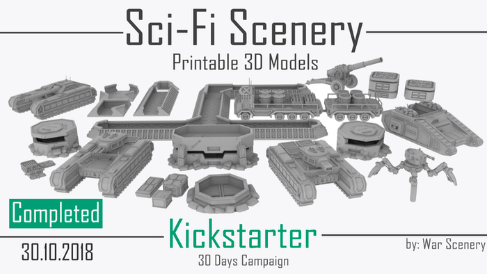 Get STL files to print sci-fi models for your Tabletop Games and other creative projects. (Vehicles, Props, Terrain)