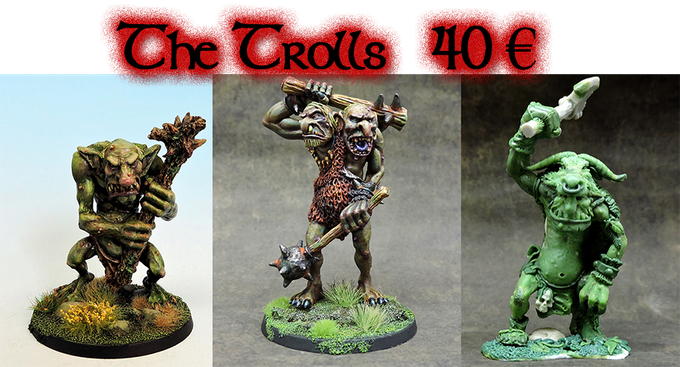 The trolls pack! Hills troll, Two Headed and Feral troll.