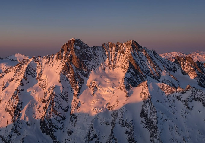 Schreckhorn and Lauteraarhorn at sunset from Ochs