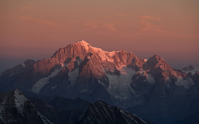 Mont Blanc at sunrise from Gran Paradiso