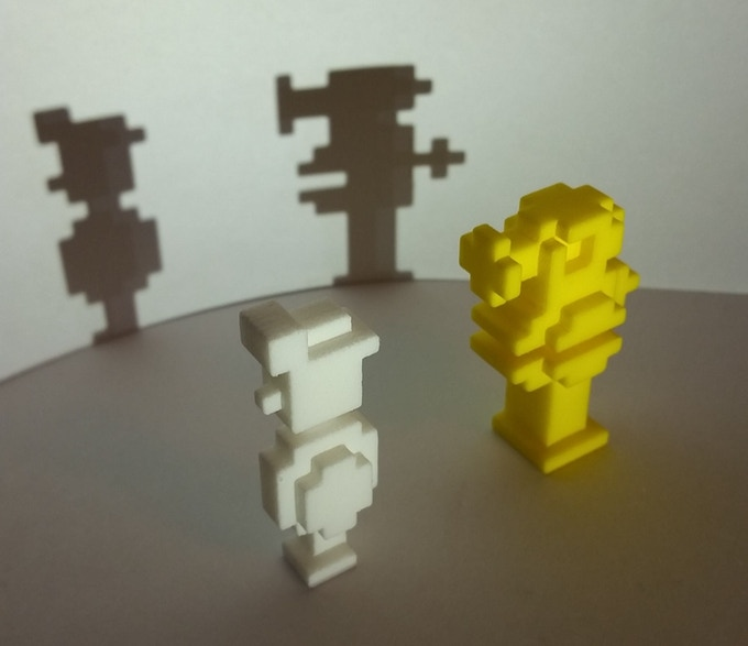 CAPTION: initial physical proto-types of a couple of the models designed for inclusion in MANIC MINER® THE BOARD GAME.