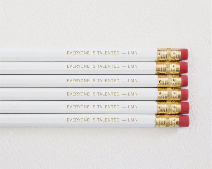 "Sketch your Bauhausian ideas with this set of 6 pencils with gold foil, embossed with the famous László Moholy-Nagy quote, ""Everyone is talented."""