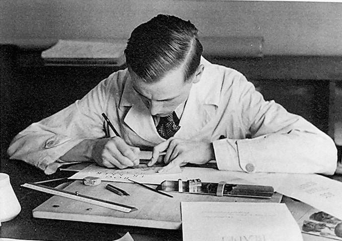 Hermann Zapf, c. 1938 at the Huas zum Fursteneck