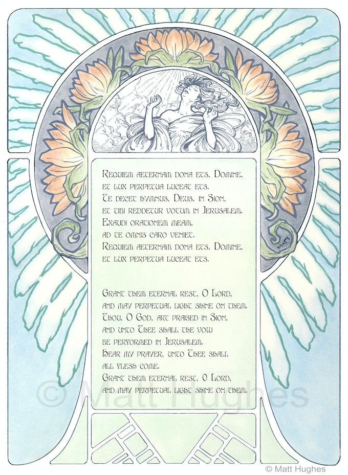 Example of one of the lyric pages complete with Latin & English text.