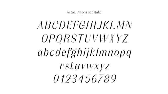 Orelo - Actual Glyph set - Italic