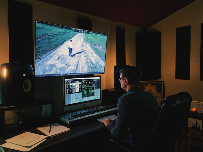 Composer Ryan Marth mixing trailer audio for The Boy From Serniki. Tacoma, Washington. (October 2018) Photo by Dead Sound.