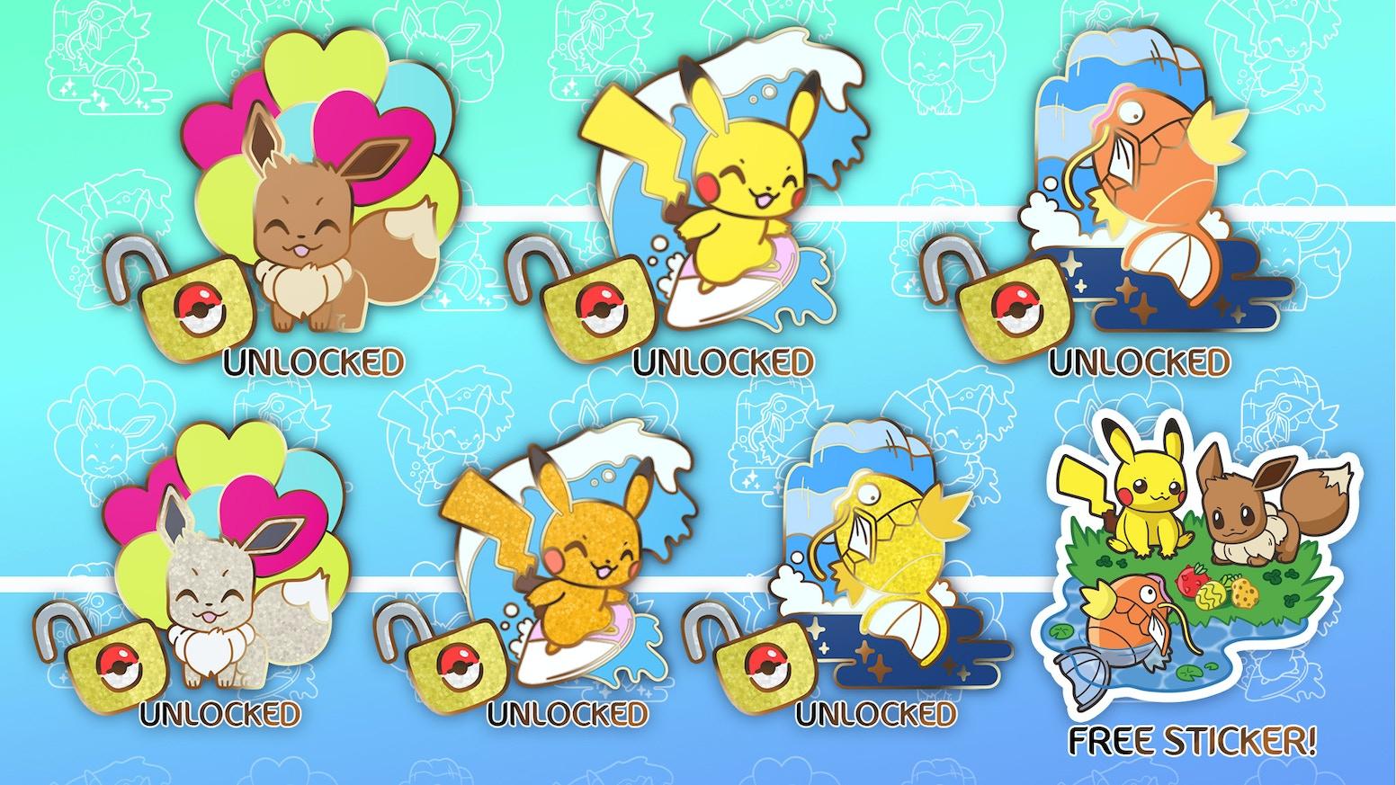 Cute Pocket Monster Scenery - Set of 6 Hard Enamel Pin by