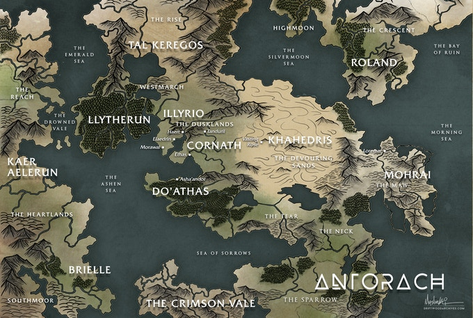 Map of Antorach, one of the continents of Teth'amir.