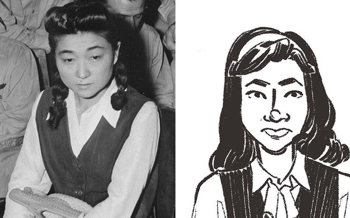 LEFT: Photo of Iva Toguri RIGHT: Concept Character Art by Kate Kasenow