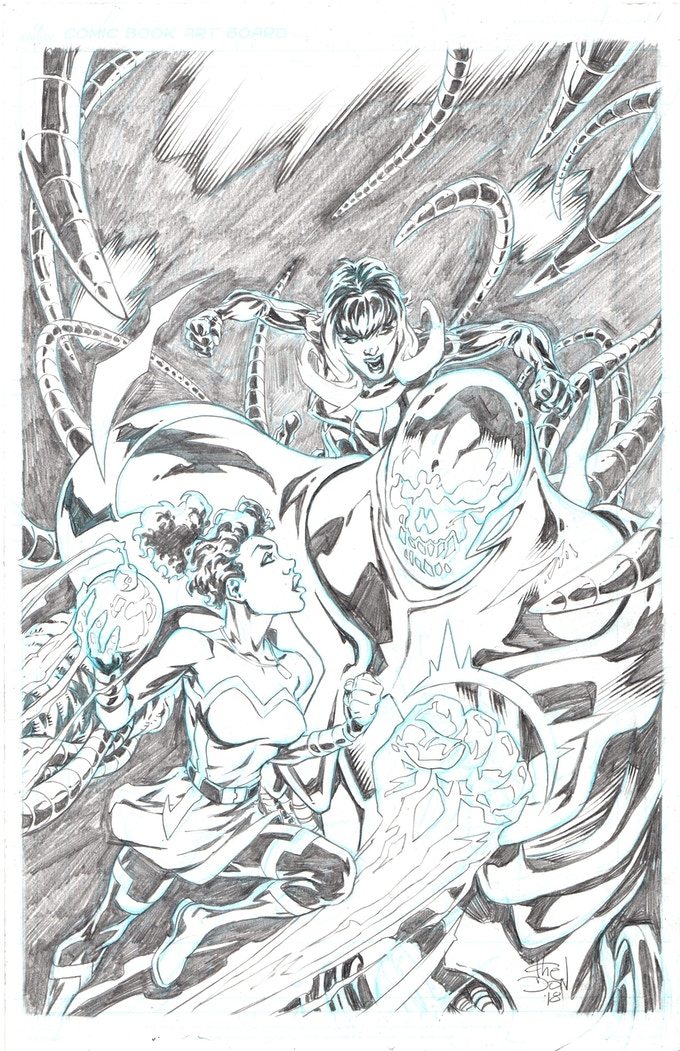 EXAMPLE - pencils of the EXCLUSIVE issue #1 cover featuring you or your own comic character. Pictured above is Chris Thomasma's CLARITY GIRL and AGENT WILD fighting BE-MAR, one of issue one's villians (Clarity Girl click through link provided).